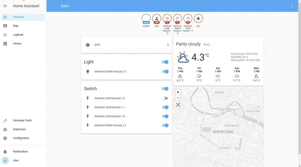 Interfejs Home Assistant z modułami GetWired