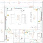 Plan budynku z naniesionymi modułami i przewodem magistralowym