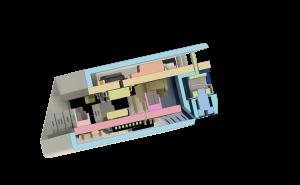 Przekrój przez MCU + 2SSR oraz obudowę
